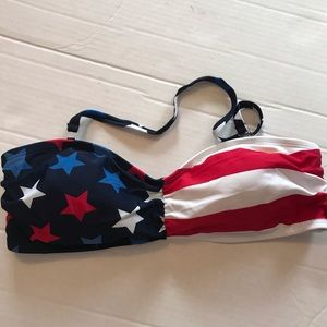 CATALINA Small Bikini Top Red White Blue Flag